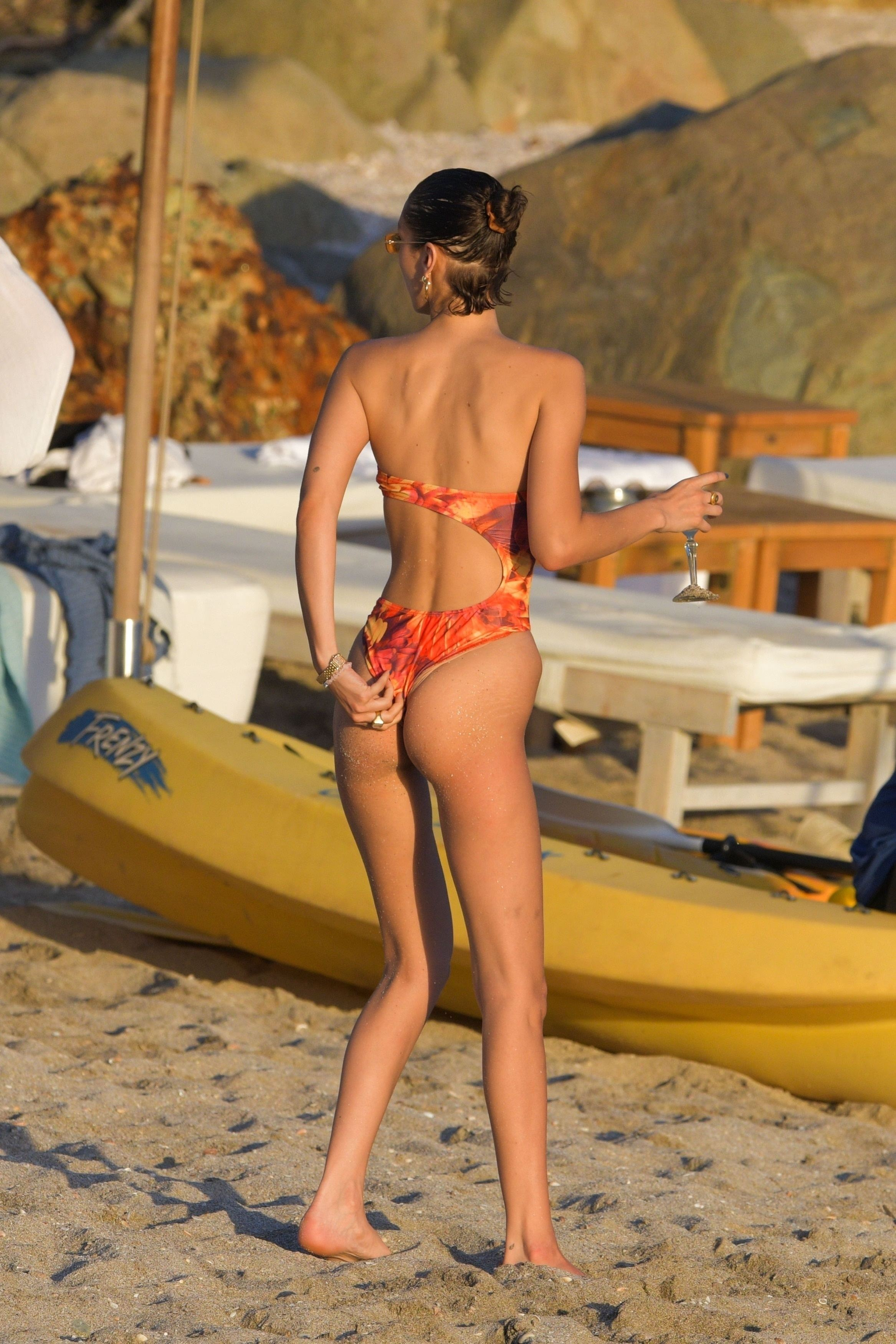 Bella Hadid BikiniSlip on the Beach in St Barts