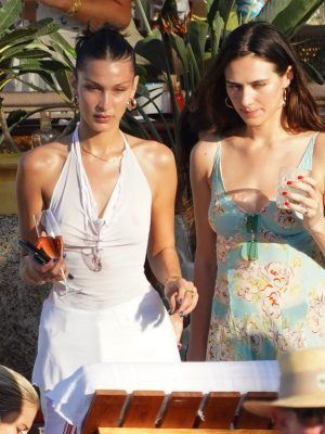 Bella Hadid in See-through Top with Friends at the Beach in St Barts