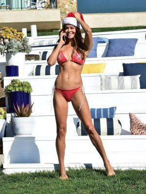 Brooke Burke in Red Bikini for Christmas in Malibu