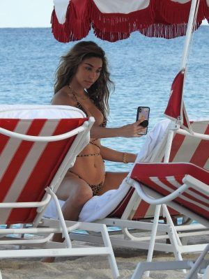 Chantel Jeffries Ass in Printed Bikini at the Beach in Miami