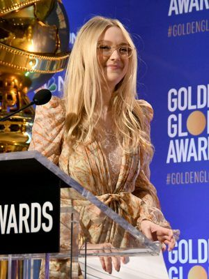 Dakota Fanning Leggy at 77th Annual Golden Globe Awards Nominations in Beverly Hills