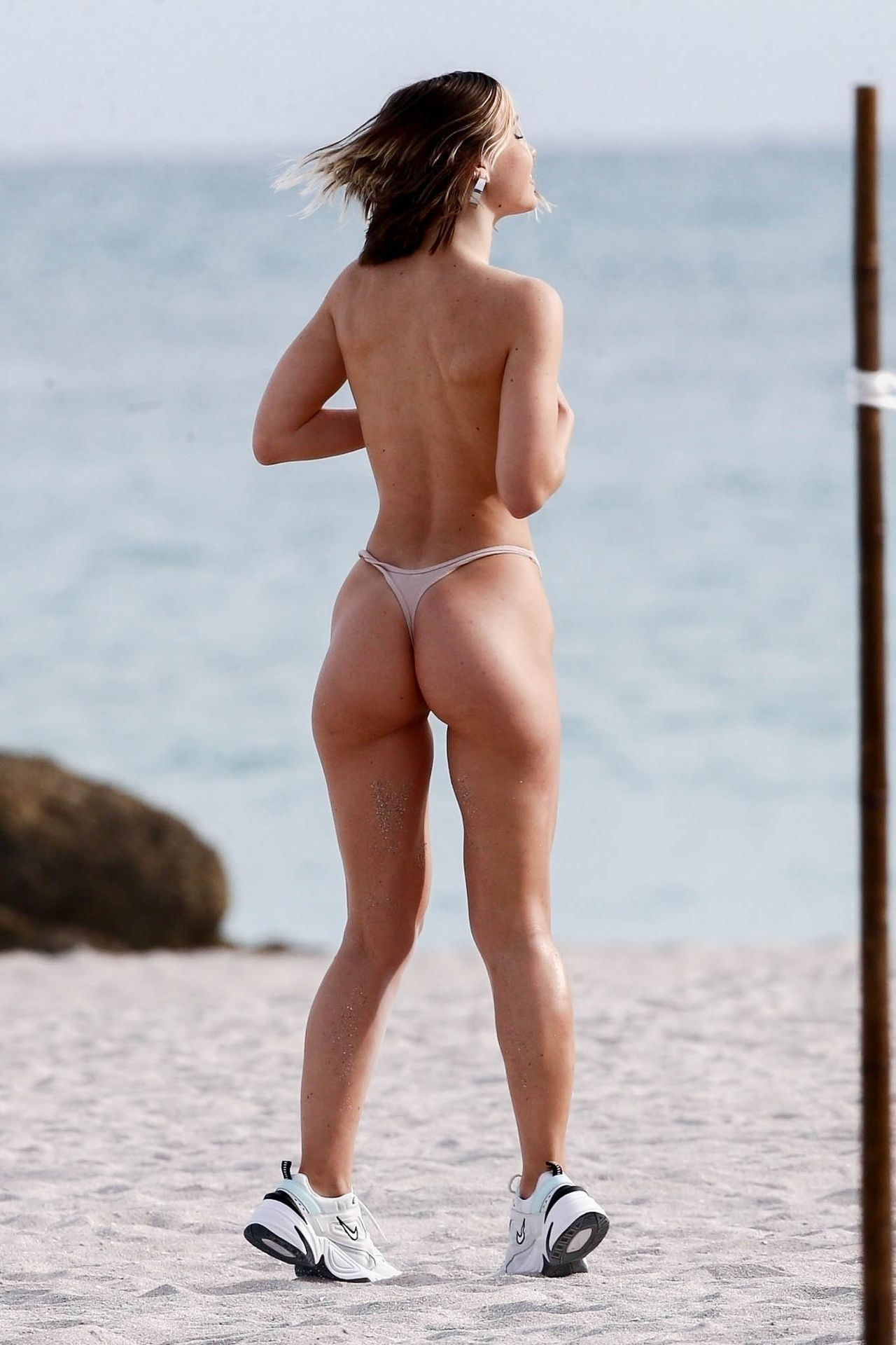 Jane Soul Topless Covered and Ass, Outside the Faena Hotel on Miami Beach, Florida