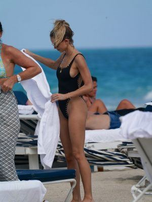 Kaitlynn Carter in a Black Swimsuit at Beach in Miami