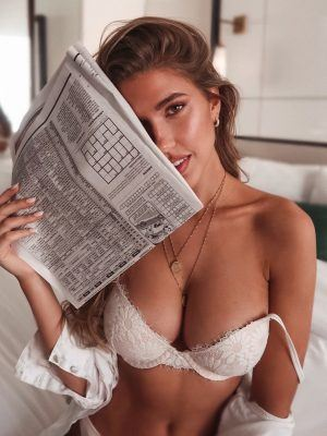 Kara Del Toro Cleavage in White Lingerie