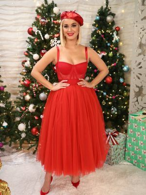 Katy Perry Pretty in Red Dress at KIIS FM's Jingle Ball 2019 in Los Angeles