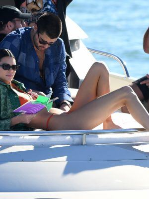 Kendall Jenner Booty in Orange Bikini on a Yacht in Miami