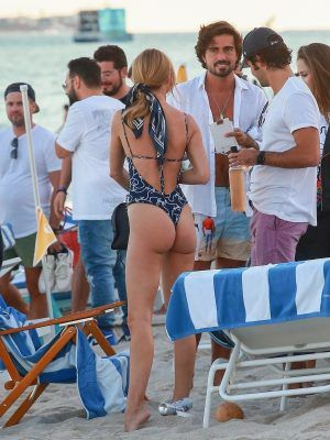 Kimberley Garner Ass in a Blue One-piece on the Beach in Miami
