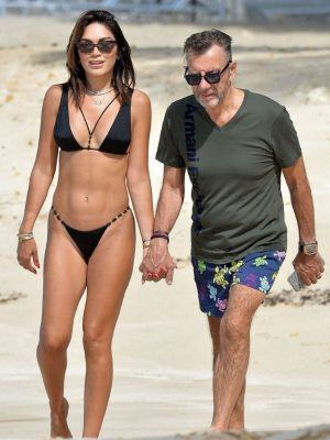 Nigora Bannatyne in Black Bikini on the Beach in Barbados
