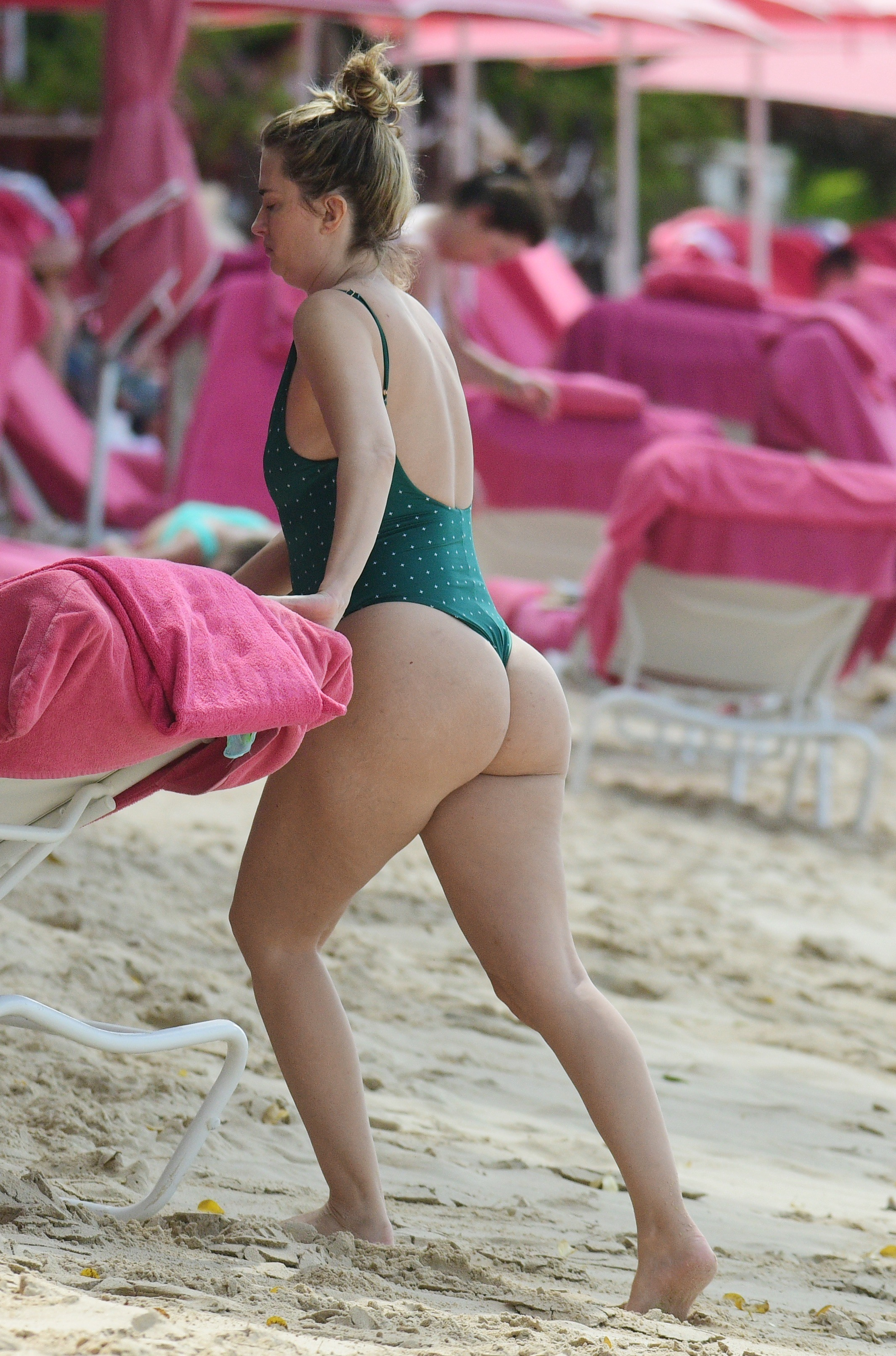 Rhea Durham Ass in Green Swimsuit on the Beach in Barbados