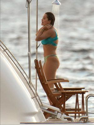 Rita Ora Showering on a Yacht in St Barts