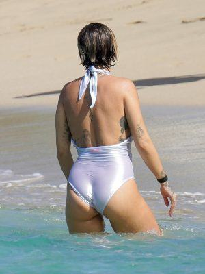 Rita Ora in White Swimsuit on the Beach in Saint Barthelemy, France