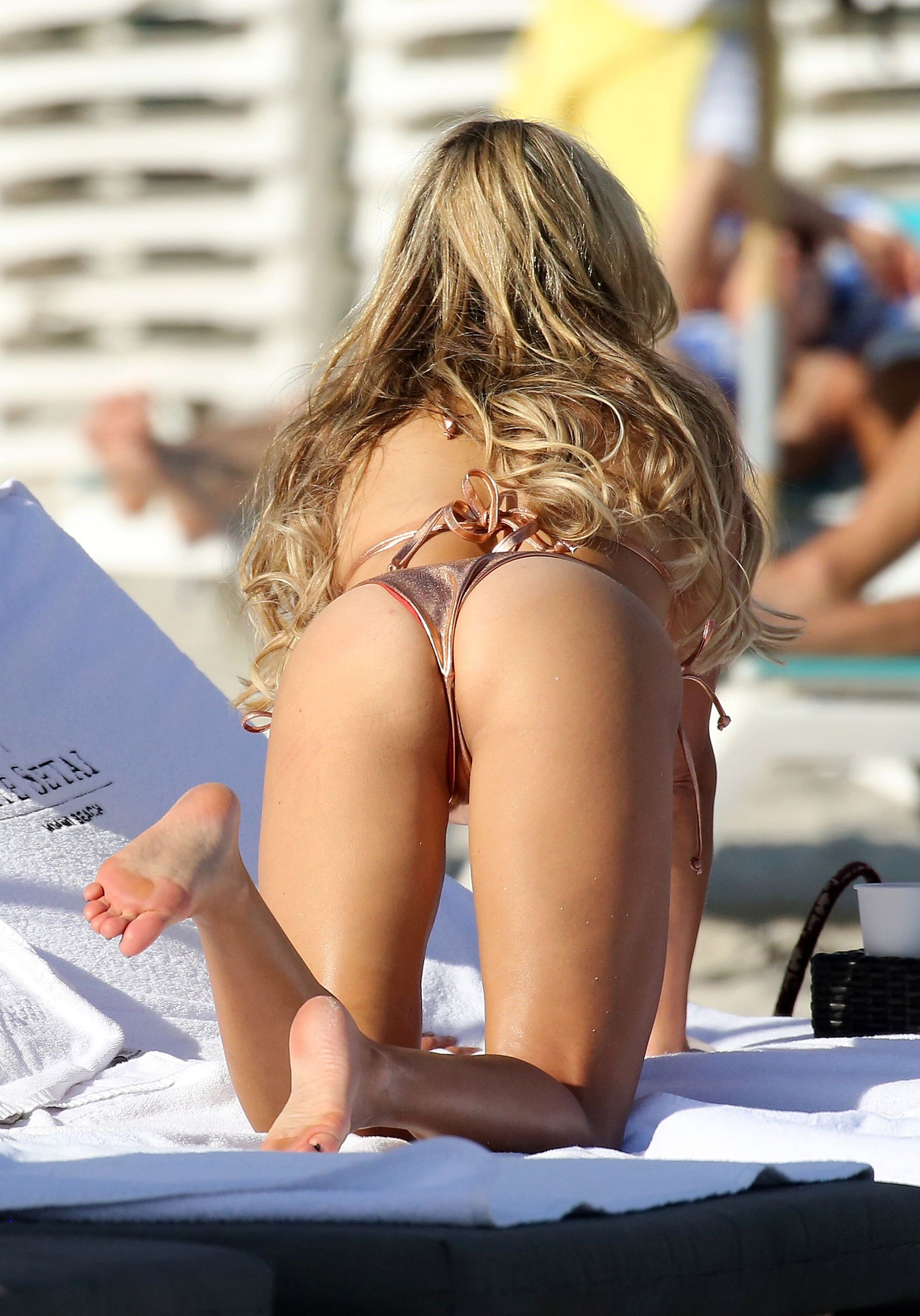 Sylvie Meis Booty in Bikini at the Beach in Miami Beach