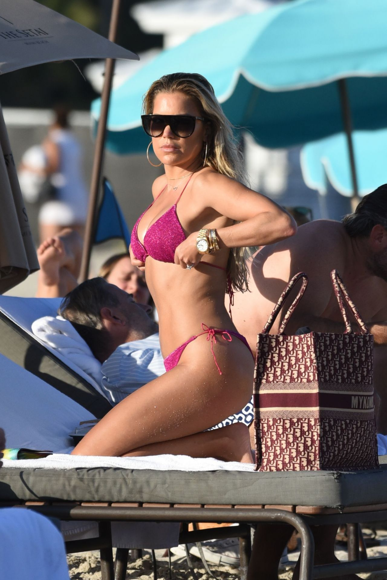 Sylvie Meis in Pink Bikini at Miami Beach