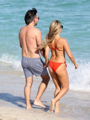 Sylvie Meis Booty in Red Bikini on the Beach in Miami