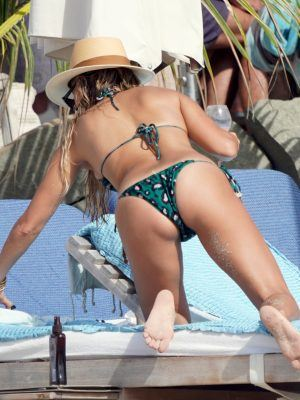 Sylvie Meis Ass in Bikini on the Beach in St Barthelemy