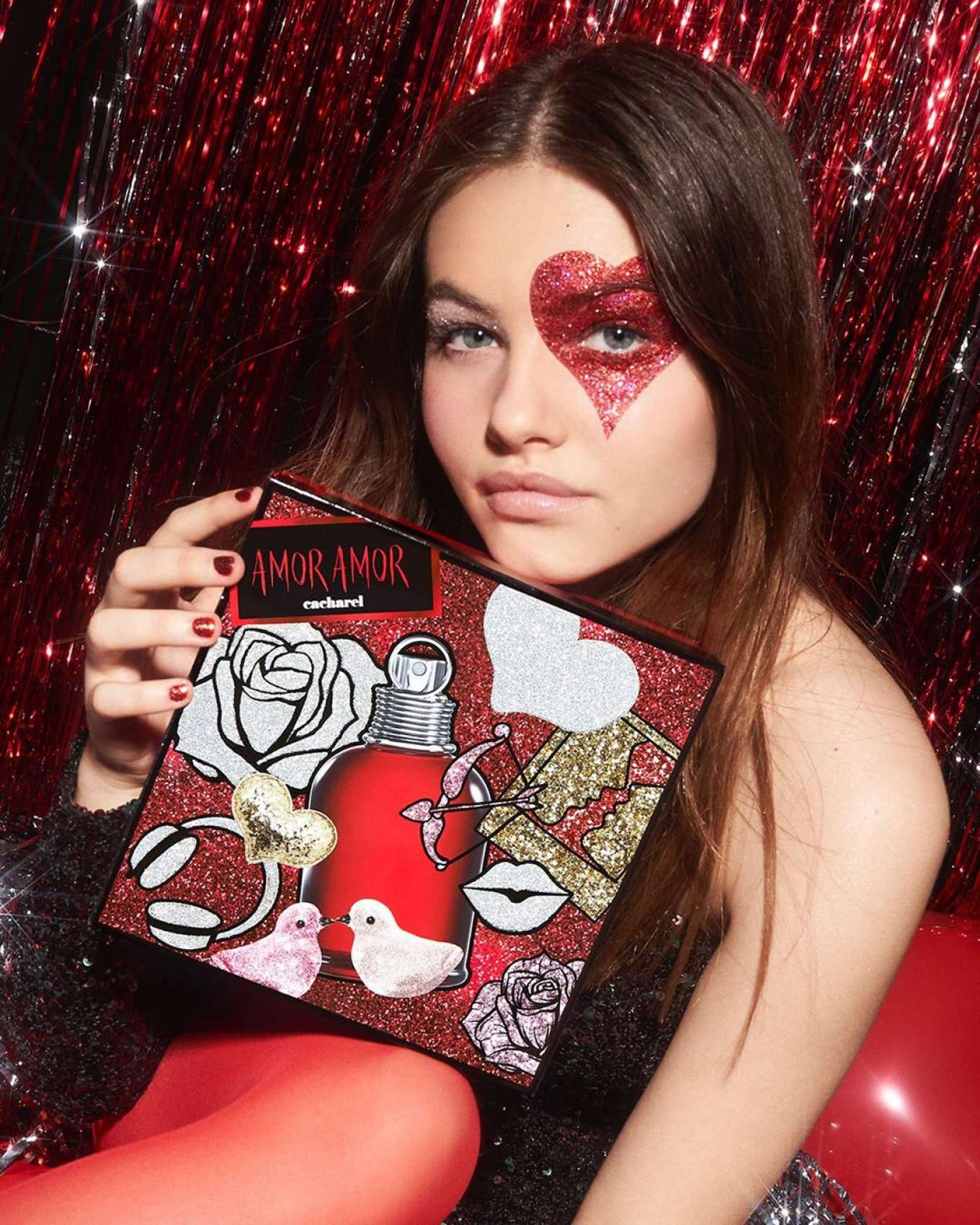 Thylane Blondeau in Cacharel Parfums' Glitter Parade Holiday Campaign 2019