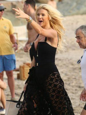 Victoria Silvstedt in a High-Slit Dress for a Beach Photoshoot in St Barth