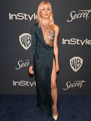 Katherine McNamara Braless at Golden Globe After Party in Beverly Hills