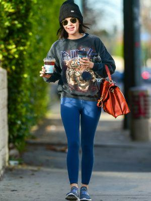 Lucy Hale in Tights Getting Coffee in LA