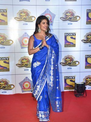 Priyanka Chopra in a Saree at Umang 2020 Police Awards in Mumbai