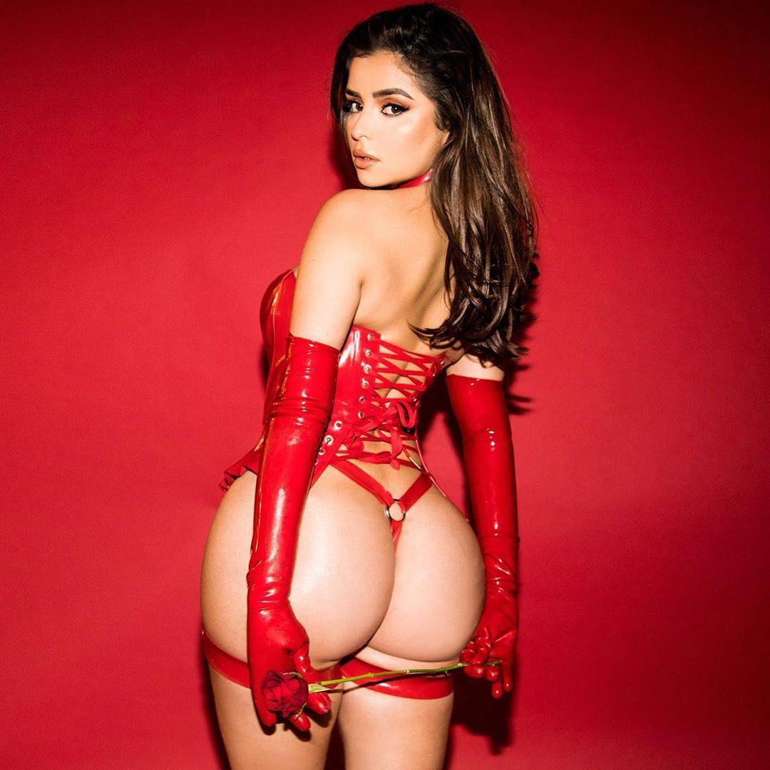 Demi Rose Mawby Ass in Red Thong for Valentine's Day Photoshoot