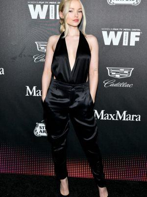Dove Cameron Braless Cleavage at 13th Annual Women In Film Female Oscar Nominees Party in Hollywood