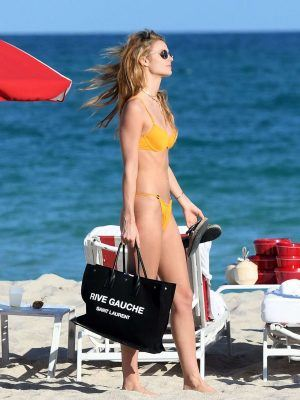 Kate Bock Booty in a Yellow Bikini on the Beach in Miami