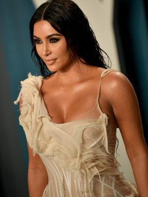 Kim Kardashian Cleavage at 2020 Vanity Fair Oscar Party in Beverly Hills