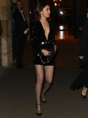 Lily Collins Leggy, Leaving her Hotel in Paris