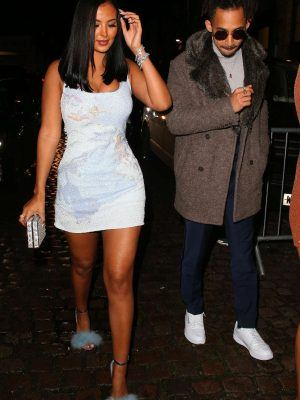Maya Jama Leggy, Arriving at 2020 Brit Awards Universal Music After Party in London