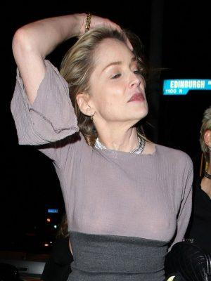 Sharon Stone Nipples in See Through