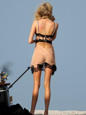 Stella Maxwell Ass in See-Through Lingerie During a Photoshoot in Miami