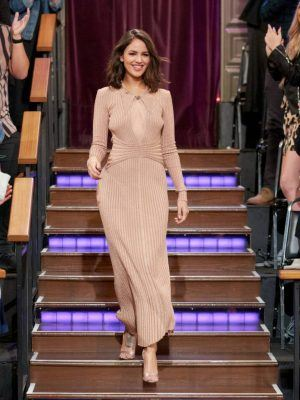 Eiza Gonzalez in Beautiful Dress at The Late Show with James Corden in Los Angeles