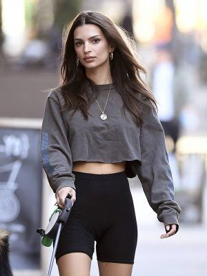 Emily Ratajkowski in Black Short Leggings Out in New York