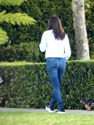 Emmy Rossum Booty in Jeans, Walking her Dog in Beverly Hills