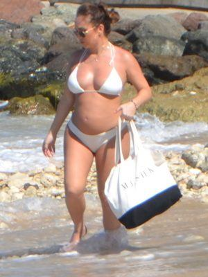 Lauryn Goodman in Two-piece Bikini at the Beach in Santa Cruz de Tenerife