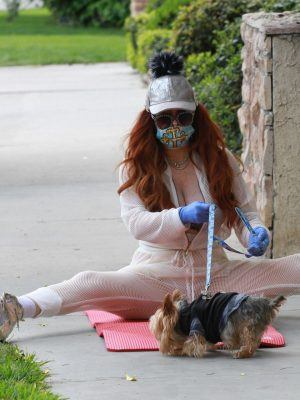 Phoebe Price on Yoga Mat Outside on the Sidewall in Studio City