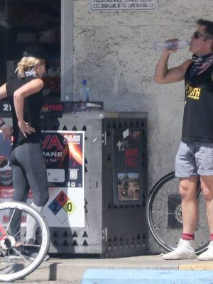 Annabelle Wallis Riding Bicycle with Chris Pine in Los Angeles