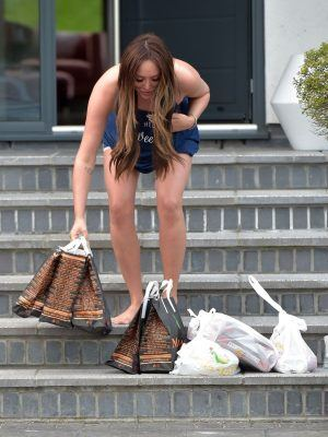 Charlotte Crosby Accepts Large Food Order Wearing PJ's