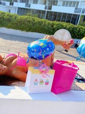 Claudia Romani Ass in Thong BIkini at her Birthday Celebration by the Pool in Miami