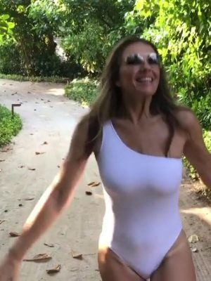 Elizabeth Hurley in White Swimsuit