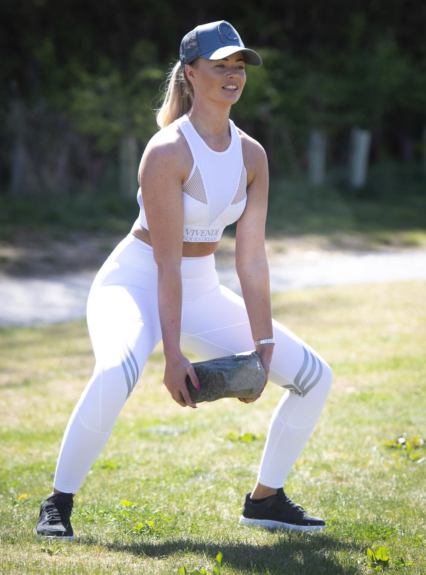 Jade Affleck is Doing Her Daily Exercise in a White Gym Wear, North Yorkshire