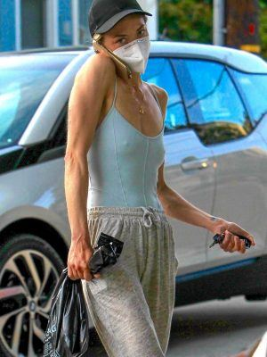 Jaime King in a Plunging Top and Protective Mask in Hollywood