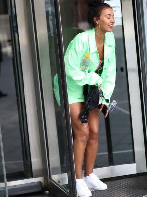 Maya Jama Leggy in Mint-Green Miniskirt and Jacket Exits BBC Radio One