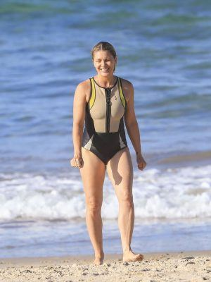 Natalie Bassingthwaighte in Swimsuit on a Beach in Australia