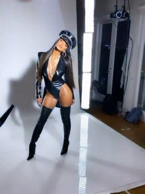 Nicole Scherzinger in Latex Bodysuit and High Boots Photoshoot
