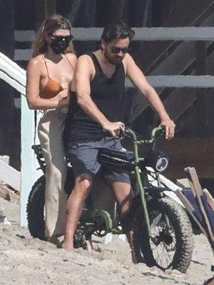 Sofia Richie and Scott Disick Riding Bike on the Beach