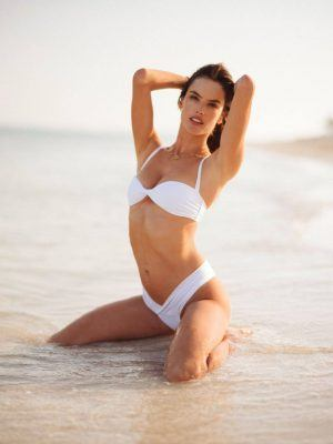 Alessandra Ambrosio in White Bikini for Beach Photoshoot
