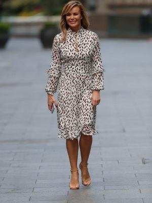 Amanda Holden Arriving at Heart Radio in London