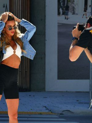 Cindy Prado Photoshoot in Posh Design District and shows off her Curves and Styles on a Hot Day in Miami